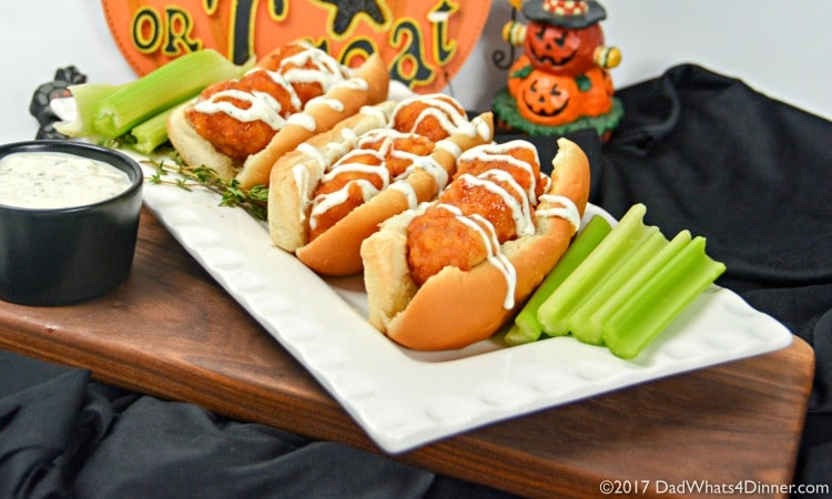 Try these Boneless Honey BBQ Chicken Roll with Creamy Ranch Sauce for a quick and simple trick or treat night snack you can make with your kids.
