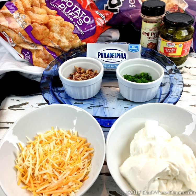 Ingredients to make Bubbly Baked Tater Tot Popper Dip