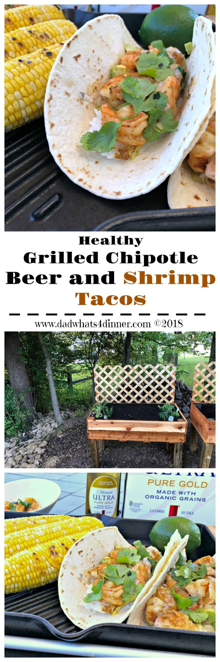 These healthy Grilled Chipotle Beer and Shrimp Tacos with avocado and rice are full of smokey spicy flavor and perfect for a light lunch when working outdoors in the summer. www.dadwhats4dinner #ad #Grilled #shrimp #grilling #foilpackcooking #healthy #avocado #beer #liveULTRA