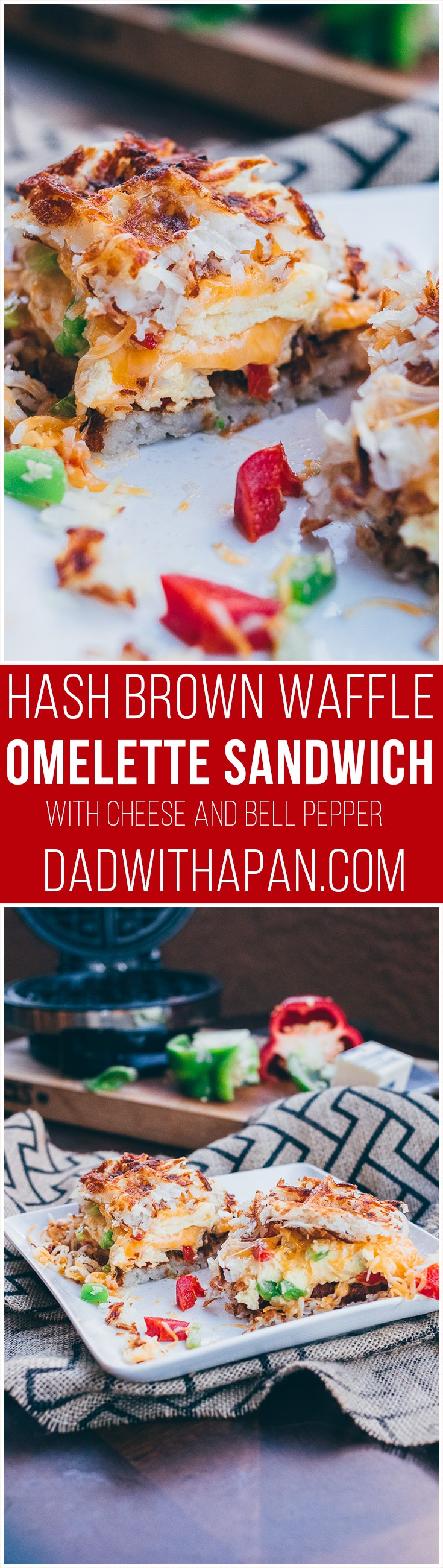 Omelette Hashbrown Waffle Sandwhich