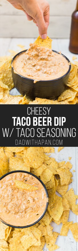 Cheesy Taco Beer Dip with a Taco Seasoning Recipe from scratch! dadwithapan.com