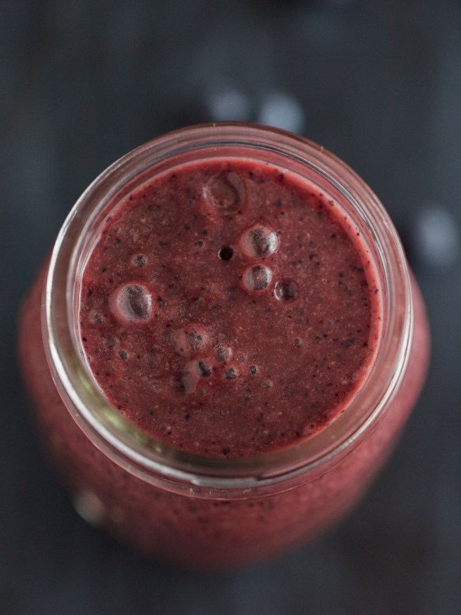 Acai smoothie full of nutrients with blueberries, strawberries, and coconut water. Great for keeping healthy on a lazy morning, or after workout snack!