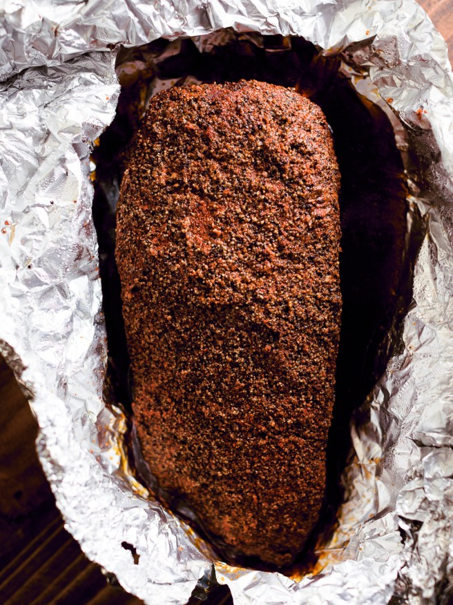Save a few days of waiting and skip brining your brisket for Smoked Pastrami and use a corned beef packer. Slow smoked, then steamed, making an amazing home-made pastrami!