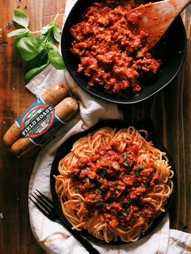 A plant-based italian sausage combined with a quick marinara made from scratch. Makes your meatless monday or next pasta night amazing!