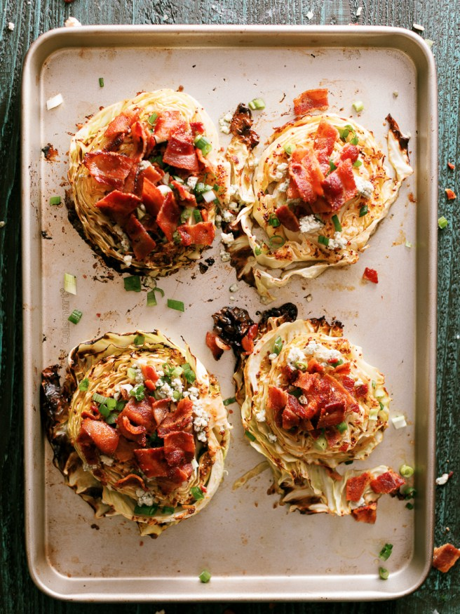 Roasted Cabbage Steaks topped with bacon and bleu-cheese make a great high protein low carb mean that has tons of flavor and easy to prep!