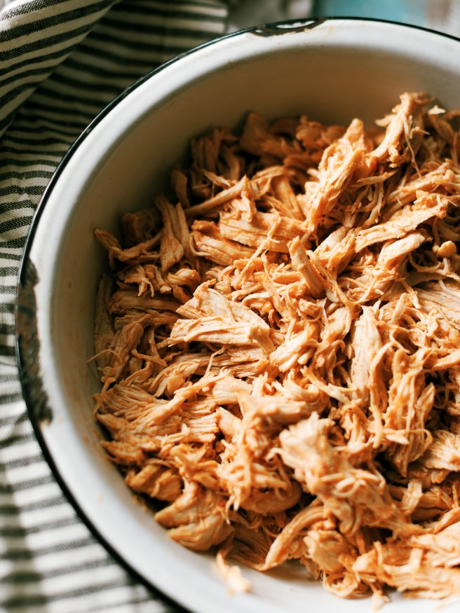 Instant Pot Shredded chicken with a Mexican style seasoning. This is perfect for tacos, nachos, burritos or anything your heart desires!