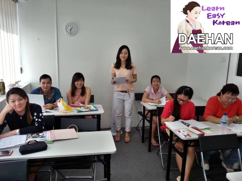 Teacher Ms EJ Cho and her students of Korean Language Course