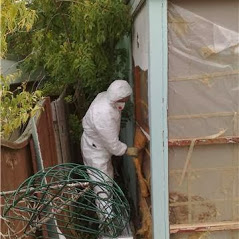 Asbestos removal at a garage in Gloucestershire