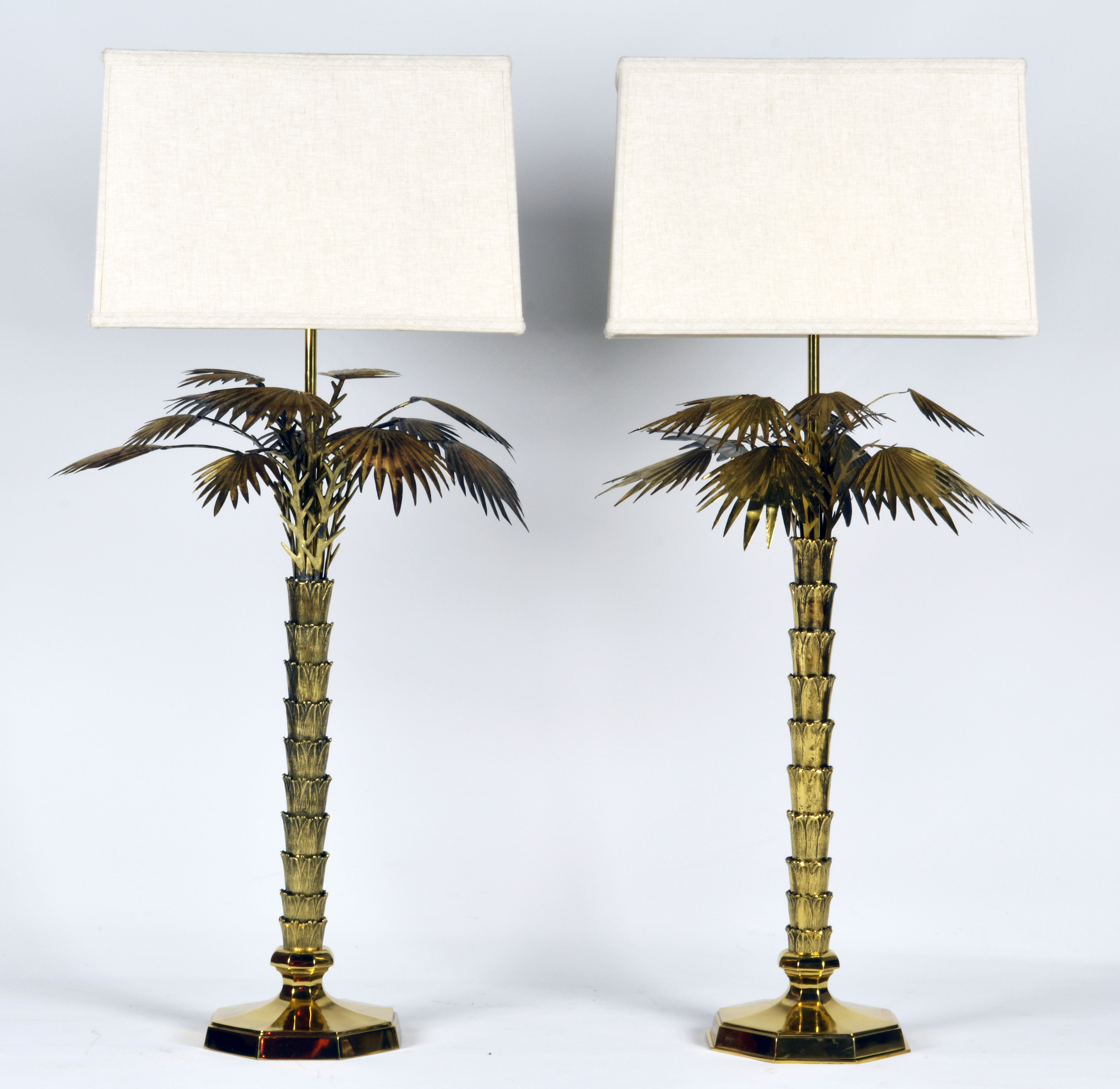 Awesome A Pair Of Striking Mid Century Brass Palm Tree Lamps