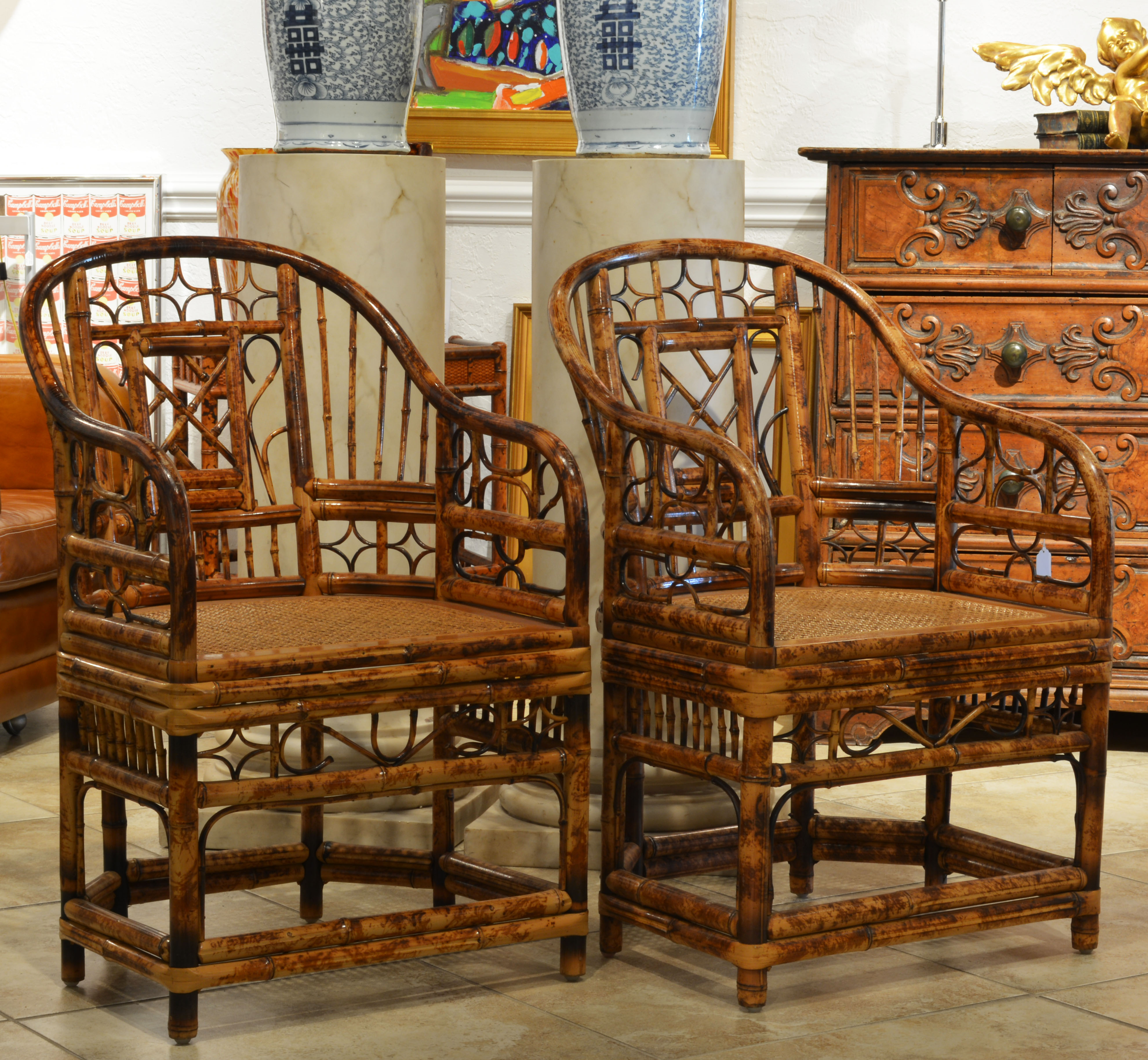 A Pair Of Bamboo Chinoiserie Chippendale Style Arm Chairs With Cane Seats
