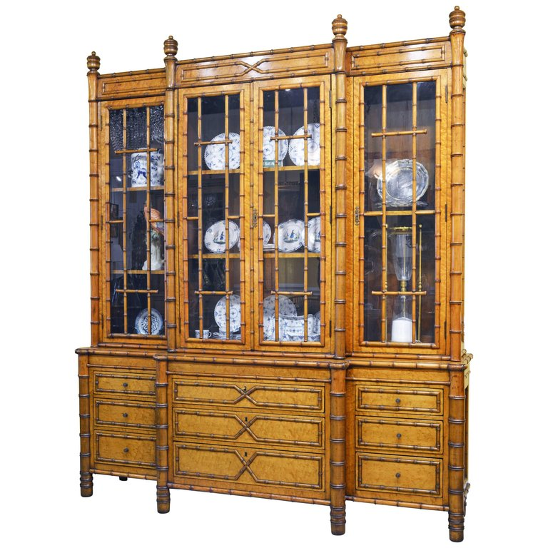 A Rare And Magnificent Piece This Faux Bamboo And Birdu0027s Eye Maple  Breakfront Features An Upper Section With Glazed Doors Opening Up To  Shelved Interiors ...
