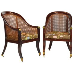 British Colonial Chair Wicker Ladder Back Chairs Fine Pair Of 19th Century Mahogany Barrel Cane