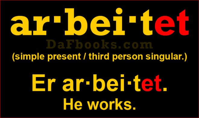 Er arbeitet. Conjugation of arbeiten in 3rd Person Singular.
