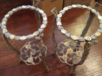 """Wrought Iron Plant Stands in Annie Sloan Chalk Paint """"Paris Gray"""" and Gold Gilding with dark wax. $85 ea."""