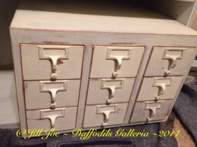 """Vintage oak library card catalogue in Annie Sloan Chalk Paint """"Old White"""""""
