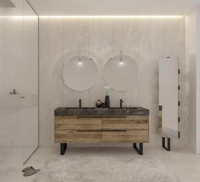 Mobile bagno moderno per coppia con lavabo a terra