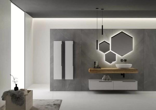 Mobile per bagno moderno con lavabo sospeso.