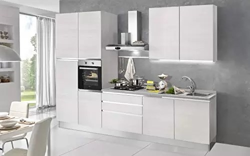 complete kitchen pendants dafnedesign com 完整的厨房 右侧厘米 300x60x240h 包括 引擎盖 通风烤箱 水槽 冰箱 带4炉灶的燃气灶具 n 9铰链门和3抽屉