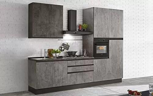hood kitchen restore cabinets dafnedesign com 完整的厨房 右侧厘米 300x60x243h 包括 引擎盖 通风烤箱 水槽 冰箱 带4炉灶的燃气灶具 n 8铰链门和3抽屉