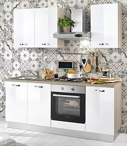 small kitchen sinks how much does a remodeled cost dafnedesign com 小厨房 组成dx cm 厘米 195 60 x 216h 包括 引擎盖 通风烤箱 水槽 带4炉灶的燃气灶具 n 6铰链门和抽屉