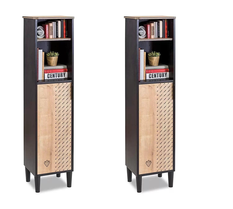 Librerie Per Camerette Bambini 2 librerie con scaffale - coppia di librerie in legno - libreria da  cameretta per bambini - libreria design moderno - dimensioni: 34 cm h 146  cm 29 cm