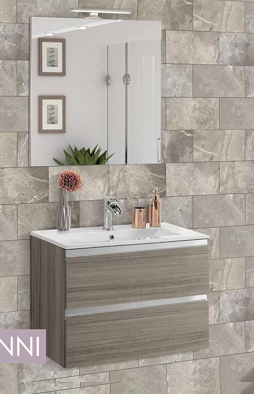 Bagno 2 X 2 mobile da bagno con lavabo - componibile bagno 2 cassetti con maniglia a  gola, lavabo e specchio con luce a led cm. 60 x 46 x 51h. (stmb) - dafne