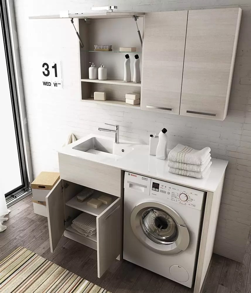 Mobile Bagno Lavabo E Lavatrice mobile lavanderia lavatoio porta lavatrice con mensole e specchio - misura:  l.127 p.50 cm - finitura colore : rovere tranche' chiaro top: top lavabo