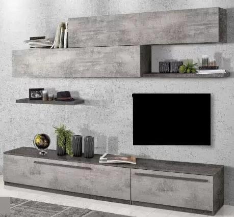 Parete componibile per soggiorno - Colore: cemento e ...