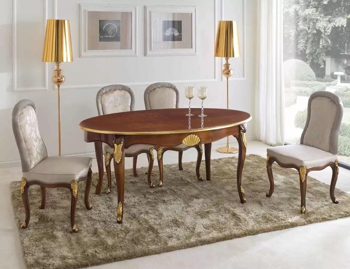 Dimensioni Tavolo Sala Da Pranzo tavolo ovale da soggiorno e sala da pranzo, colore legno scuro con  decorazioni oro - dimensioni: 170 cm (allungato 270 cm) - 110 cm - h 79 cm  – 0,40