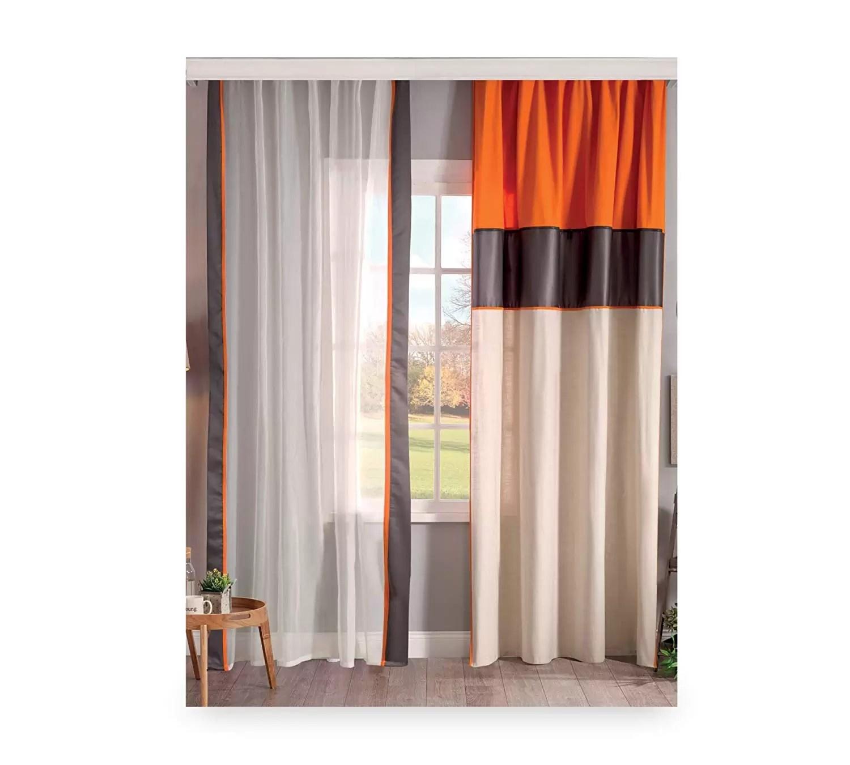 Tende X Camera Da Letto tenda per cameretta da bambino o ragazzo - tenda dai colori eleganti  bianco, nero e arancione - si abbina ad una camera da letto con  confortevole