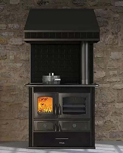 Termo stufa cucina economica a legna  colore nero con