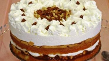 עוגת בראוני שוקולד לבן עם קרם גבינה וטופי אגוזי לוז