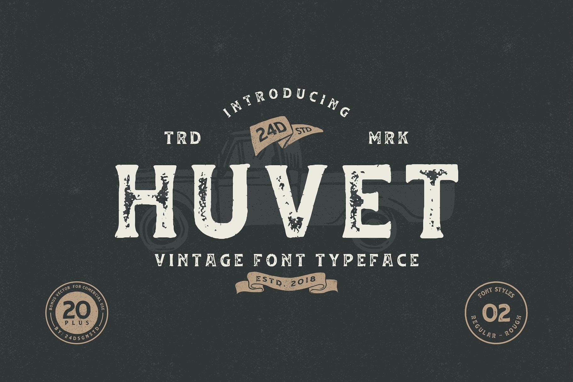 huvet-vintage-font