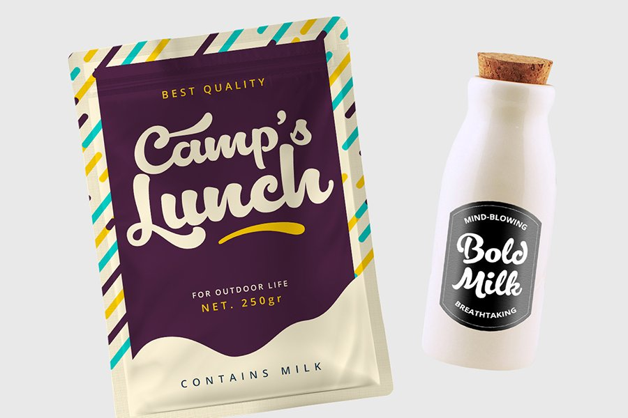 Lactosa script font mockup milk bottle and snack