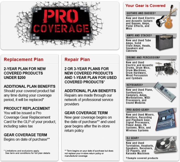 guitar center pro coverage
