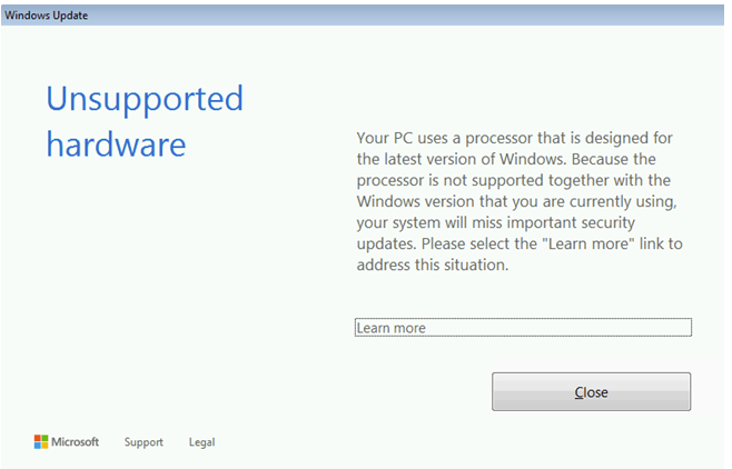2019-03-21 17_36_12-_The processor is not supported together with the Windows version that you are c