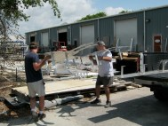 The elements are unloaded at the powder coaterwder coater
