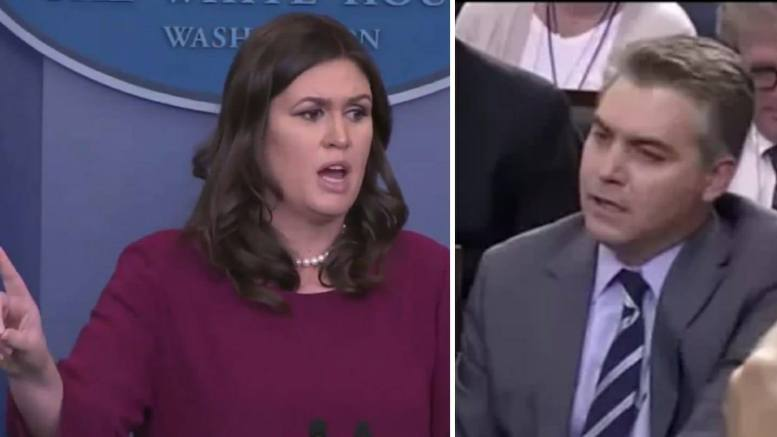 (Feature photo by video capture and Dagger News. Sarah Huckabee Sanders and disorderly Jim Acosta.)