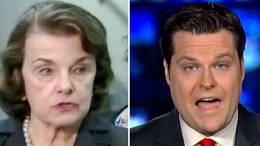 Photo credit to screen capture and Dagger News compilation. Gaetz and Feinstein square off after Feinstein releases closed door testimony in a short-lived tricky political move.
