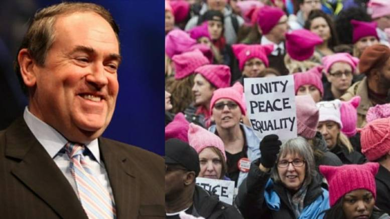 Mike Huckabee tweets in reference to Women's March 2018. Photo credit to Screen Grab, Washington Post, Dagger News