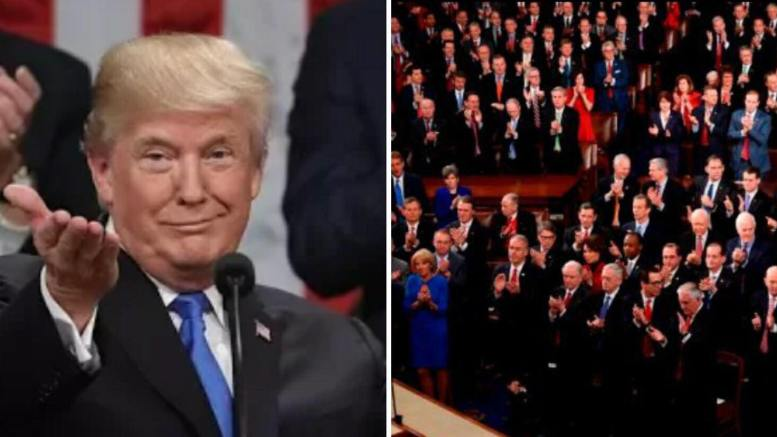 CBS scientific Poll show excellent results for President Trump's first SOTU speech. Photo credit to compilation by Dagger News.