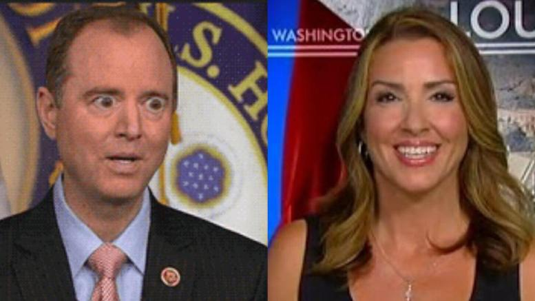 Sara A. Carter, investigative reporter, calls out Adam Schiff (CA-D). Photo credit to screen captures and compilation by Dagger News.