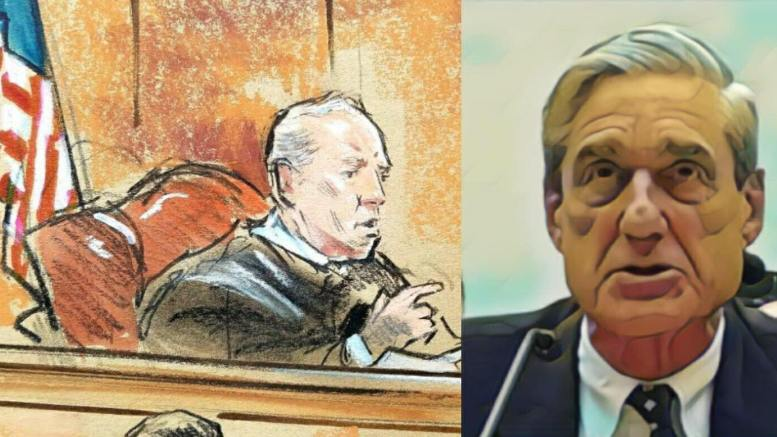Judge Ellis hands down three blows to Mueller team on second day of Manafort trial. Photo credit to Dagger News compilation with (L) Judge T.S. Ellis Courtroom Sketch, (R) Screen Grab enhancement.
