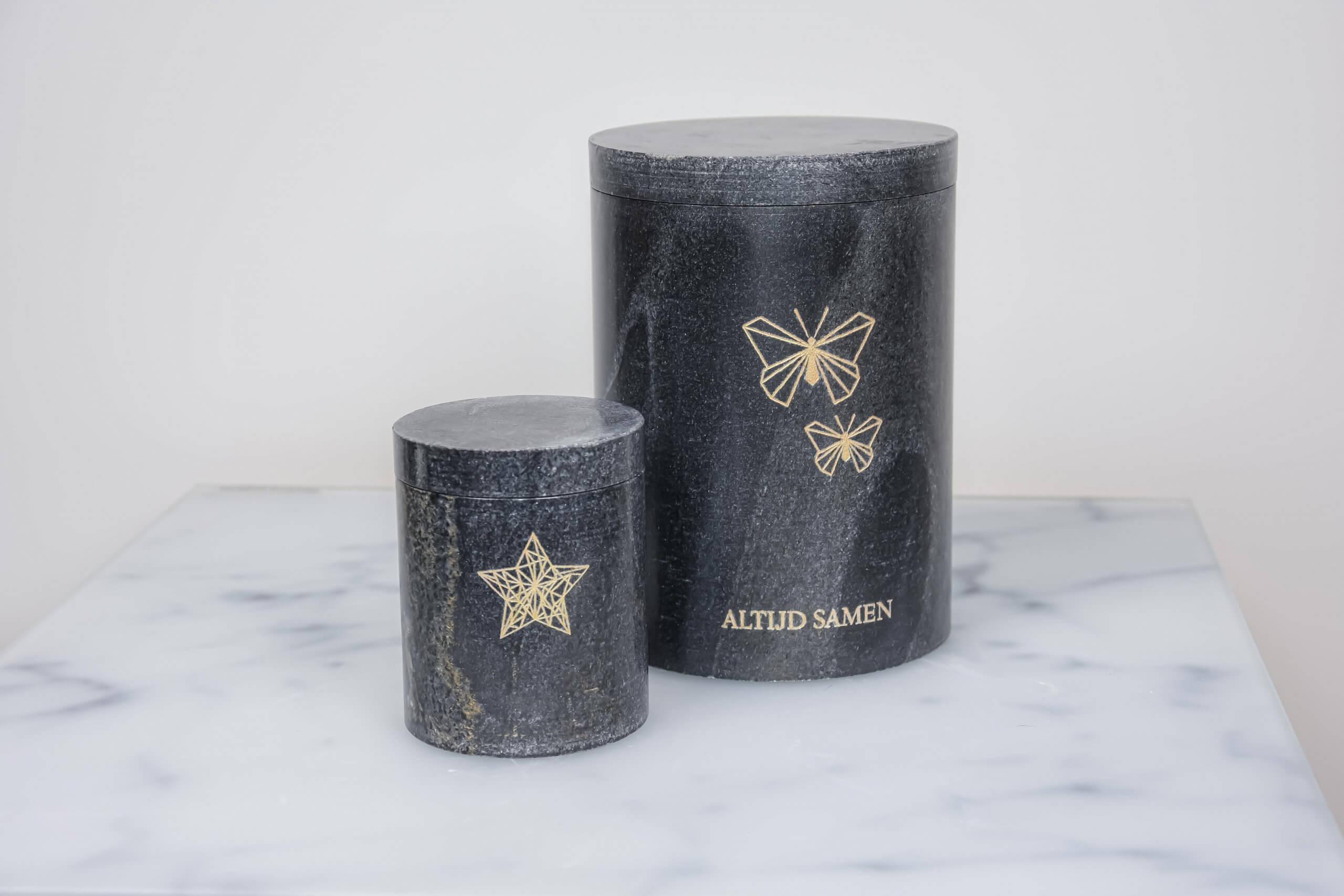 urn voor baby met ster en vlinder