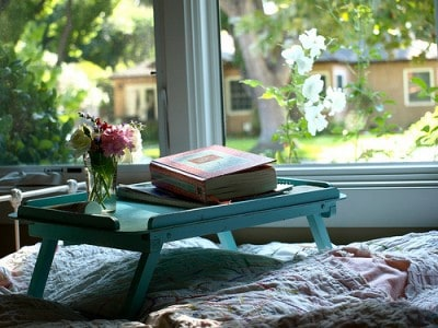 bed, book, vase