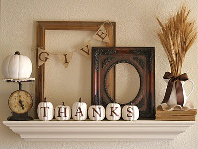 easy DIY mantle decoration for Thanksgiving