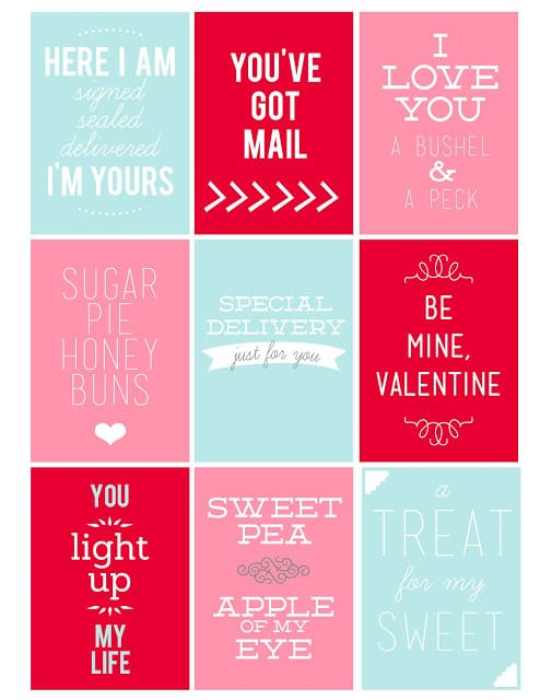 Valentine's Day love note printables