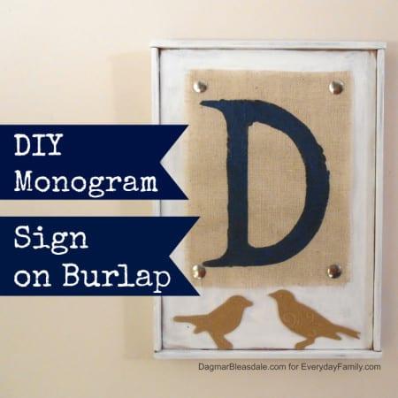 DIY monogram on burlap sign
