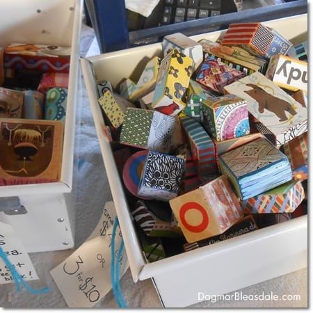 vintage wooden blocks with pictures