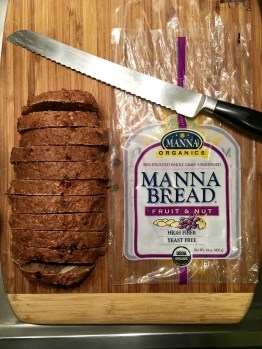 Sliced manna bread ready for the freezer